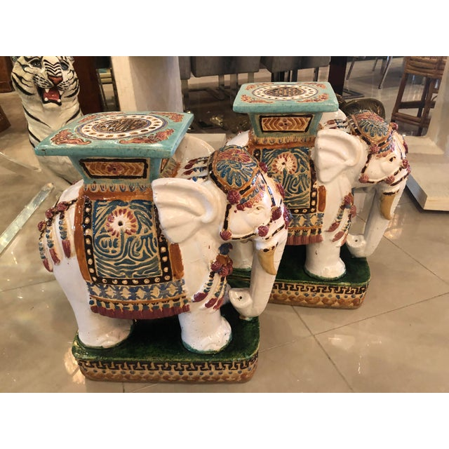 Vintage Hollywood Regency Garden Stools Stands Side Tables Elephants - A Pair For Sale - Image 4 of 13