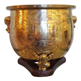 Vintage Mid Century Chinese Polished Etched Bronze Planter For Sale