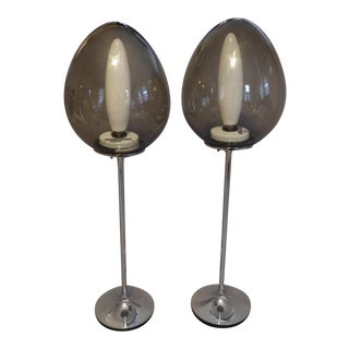 Pair of Chrome Base Stemlite Mushroom Lamps with Original Tapio Wirkkala Bulbs For Sale