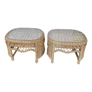 Boho Chic French Vintage Wicker Scalloped Edge Peacock Tables With Glass Tops - a Pair For Sale