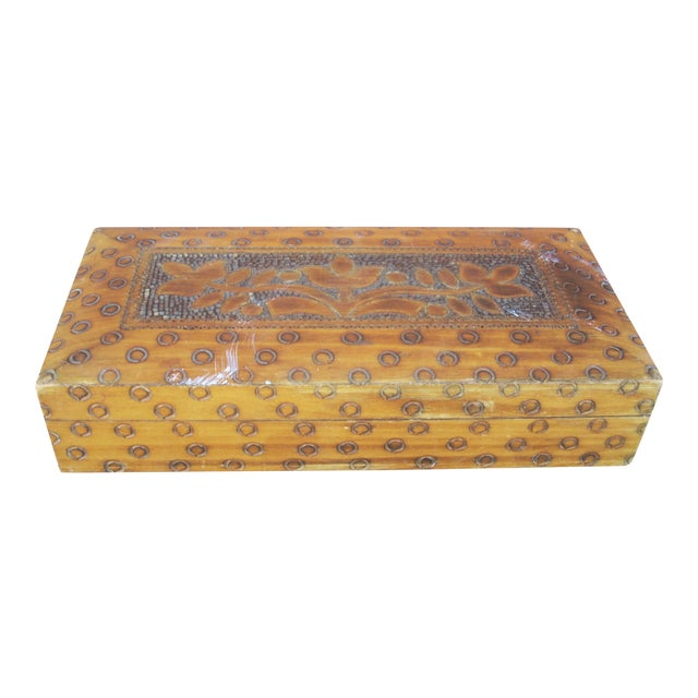 Wood Box With Incised Circles - Image 1 of 3