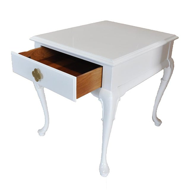 White Chippendale Side Tables -- A Pair - Image 3 of 6