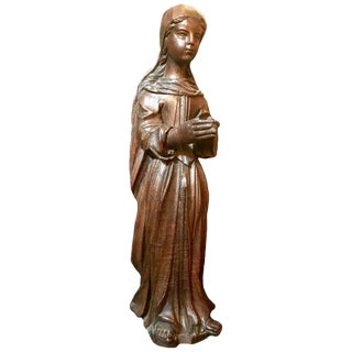 15th Century English Oak Carved Virgin Sculpture For Sale