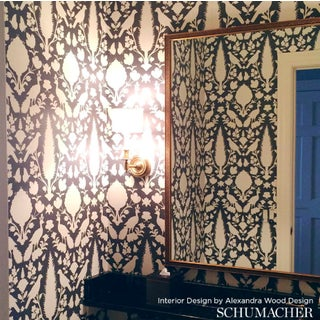 Schumacher Chenonceau Damask Wallpaper in Charcoal - 2-Roll Set (9 Yards) Preview