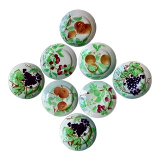 8 French St. Clement Faience Fruit Plates