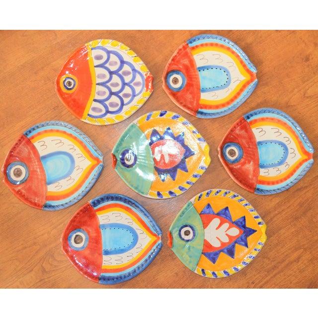Ceramic 1980s Boho Chic DeSimone Terra Cotta Fish Plate For Sale - Image 7 of 13