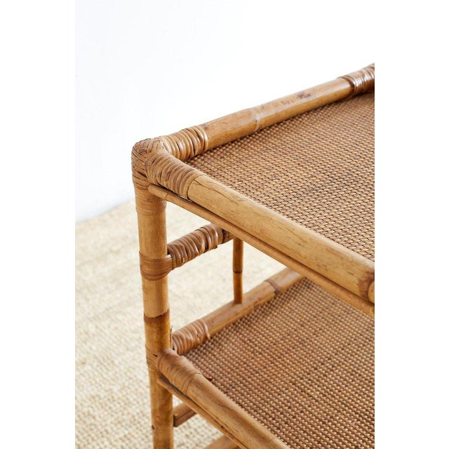Tan Bamboo and Raffia Rolling Three-Tier Serving Cart For Sale - Image 8 of 13