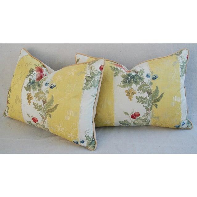 "26"" X 18"" Designer Scalamandre Silk Lampas Feather/Down Pillows - Pair - Image 8 of 10"