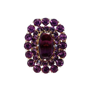 Large Amethyst Glass Dress Clip, C. 1940 For Sale