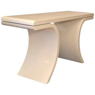 Hollywood Regency White Lacquer Console Table With Curved Legs For Sale