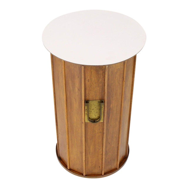 Round Cylinder Shape Pedestal Bar Cabinet Storage Cabinet With Brass Hardware For Sale