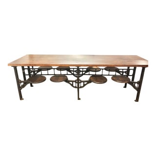 1920s American Table 8 Swing Out Lunchroom Table For Sale