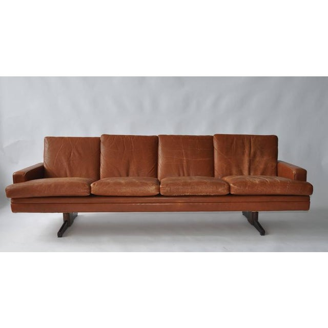 Fredrik Kayser leather and rosewood sofa for Vatne Mobler. Original leather.