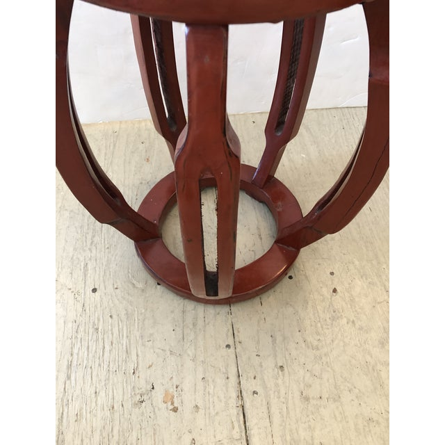 Red Chinese Carved Wood Garden Seat Side Table For Sale - Image 4 of 8