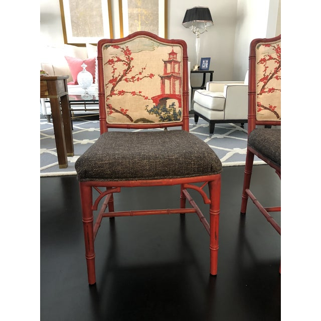 Chinoiserie Faux Bamboo Style Chairs- a Pair For Sale - Image 4 of 9