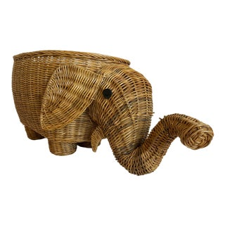1970s Wicker Elephant Basket For Sale