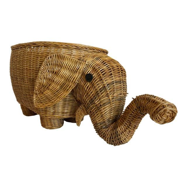 1970s Wicker Elephant Basket For Sale