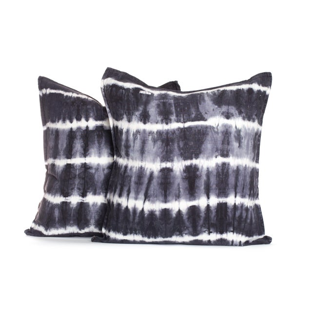 Boho Chic Tie Dye Stripe Pillows - A Pair For Sale - Image 3 of 3