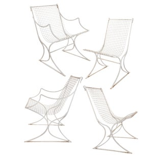 Salterini Mid-Century Modern White Metal Chairs - Set of 4 For Sale