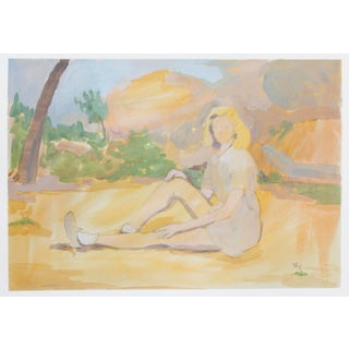 Figurative Original Painting of Woman at Sunrise For Sale