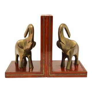 Art Deco Brass Elephant Sculpture Bookends - A Pair For Sale