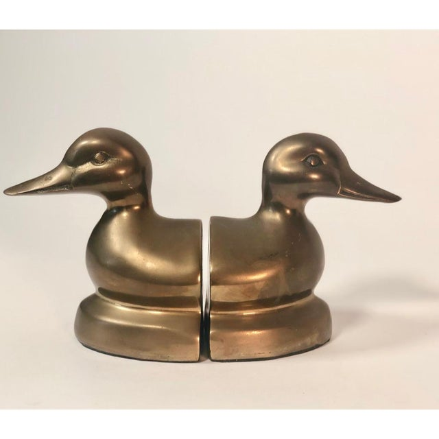 Vintage Brass Mallard Duck Head Bookends - a Pair For Sale In Los Angeles - Image 6 of 7