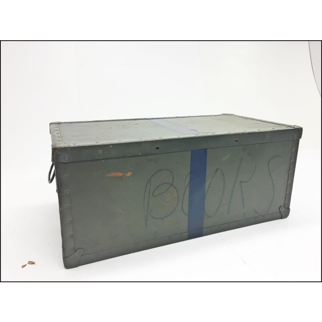 Vintage Industrial Drab Green Military Chest W Removable Lid For Sale - Image 12 of 12