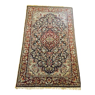 Hand Knotted Wool Rug Jewel Tone Persian Rug Large Center Medallion