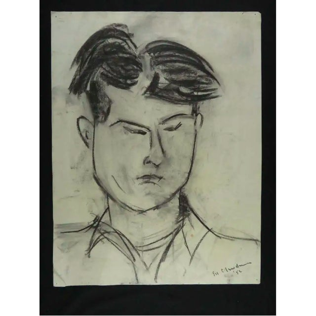 Modernist Portrait of a Man Charcoal Drawing For Sale - Image 4 of 8