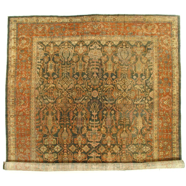 """1900 - 1909 Late 19th Century Antique Original Persian Sultanabad Hand-Knotted Rug - 10′7″ × 16′6"""" For Sale - Image 5 of 5"""