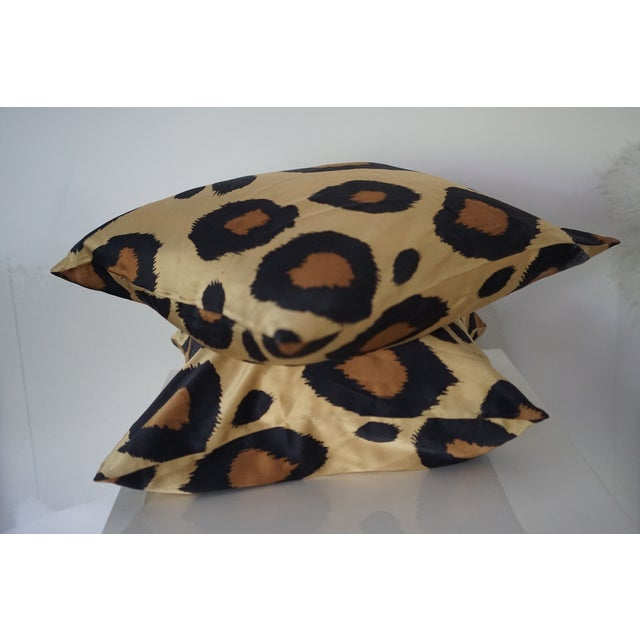1990s Silk Leopard Pillow Covers - A Pair For Sale - Image 4 of 7
