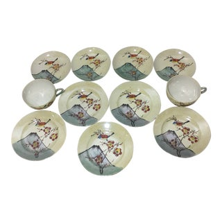 Vintage Japan Lustreware ~ Hand Painted Bird Design Tea Set - 11 Pieces For Sale