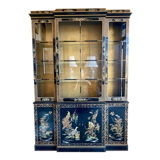 Vintage Black Lacquer Chinoiserie China Cabinet Breakfront For Sale