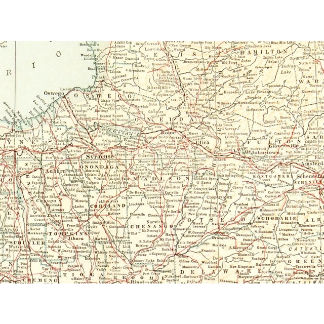 Vintage map of the state of New York by Collier, 1928. Map also shows New York City area and Long Island. Displayed on a...