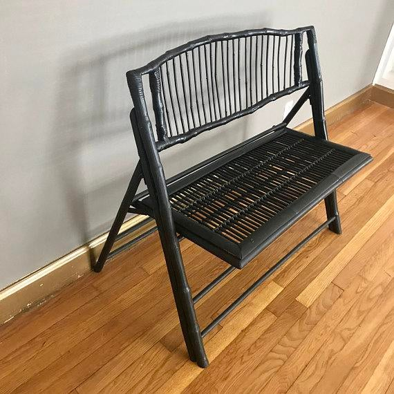 Wood Vintage Black Bamboo Foldable Bench For Sale - Image 7 of 7