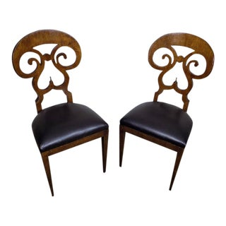 20th Century Vintage Italian Biedermeier Side Chairs- A Pair For Sale
