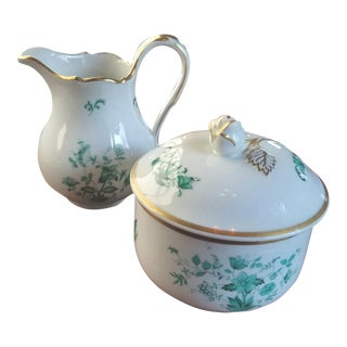 Meissen Jade Sugar & Creamer Dishes - A Pair