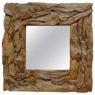 Contemporary Organic Driftwood Wall Mirror For Sale