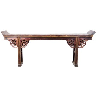 20th Century Chinese 9' Long Flange Top Altar Console Table For Sale