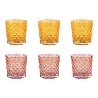 Mindala Short Glasses, Orange Duo - Set of 6