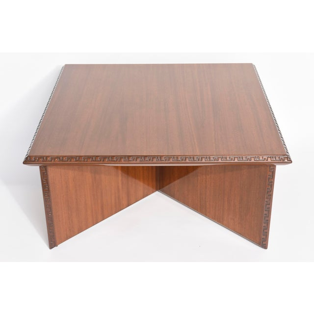 """Brown American Modern Mahogany """"Taliesin"""" Low Table, Frank Lloyd Wright For Sale - Image 8 of 9"""