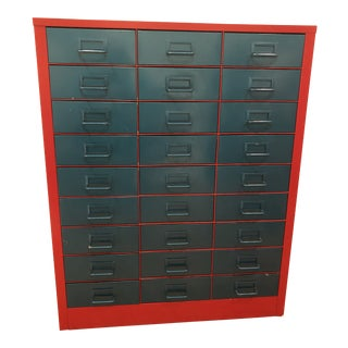 Vintage Metallic Turquoise and Red Steel Stationary Cabinet For Sale