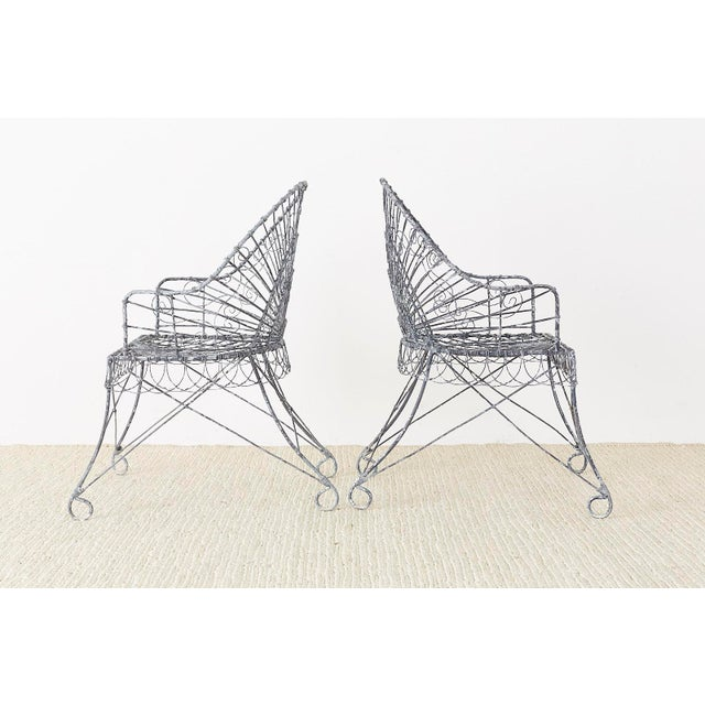 Gray Set of Four French Iron and Wire Garden Chairs For Sale - Image 8 of 13