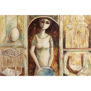 'In the Hen House', Large Symbolist Figurative Oil by Rossini, 1970s For Sale