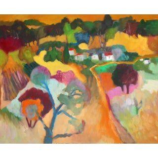 """""""Country Village"""" Contemporary Abstract Oil Painting by Ann Cameron McDonald For Sale"""