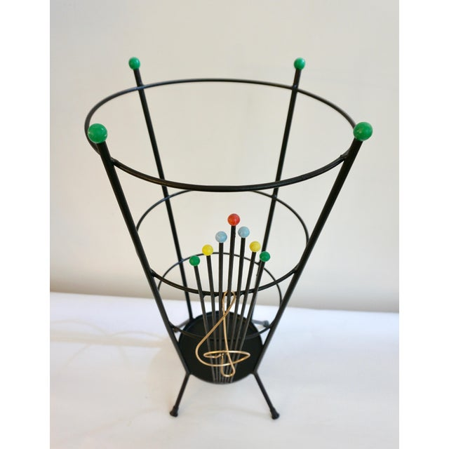 Stilnovo 1970s Vintage Black Lacquer Italian Umbrella Stand With Clef Motif For Sale - Image 9 of 13