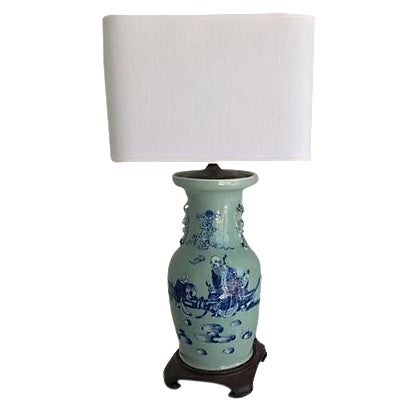 1940s Celadon Foo Dogs Lamp - Image 1 of 7