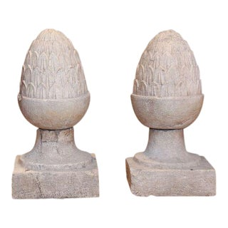 Pair of Glazed Terracotta Garden Finials For Sale