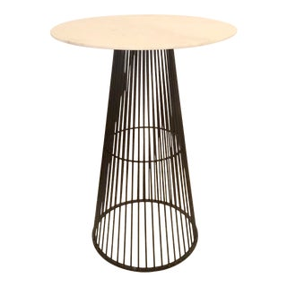 Arteriors Home Industrial Modern Iron and White Stone Jaime Pub Table/Breakfast Table For Sale