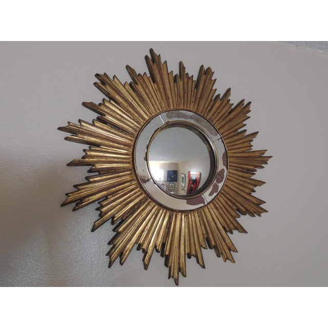 Vintage Gold Sunburst Wood Convex Mirror - Image 2 of 4